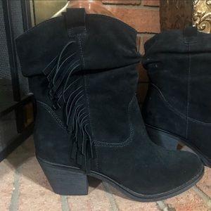 LImeLight Shania Black Leather Fringe Ankle Boots